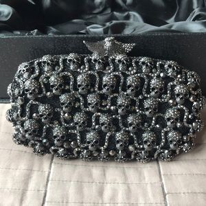 Handbags - Black Crystal skull clutch.
